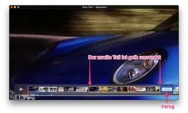 QuickTime Player mit beiden Filmclips