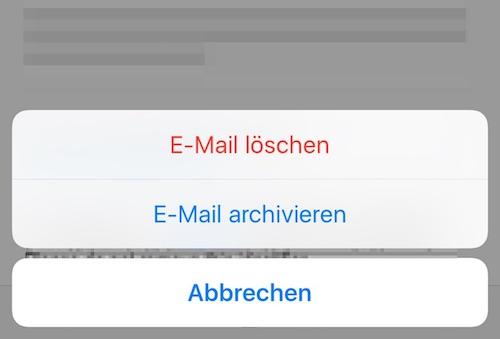 Optionsmenü: Löschen oder archivieren