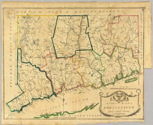 Map of Connecticut 1797 showing the border with Simsbury.