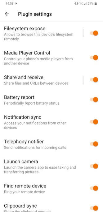 KdeConnect - Plugin Settings List