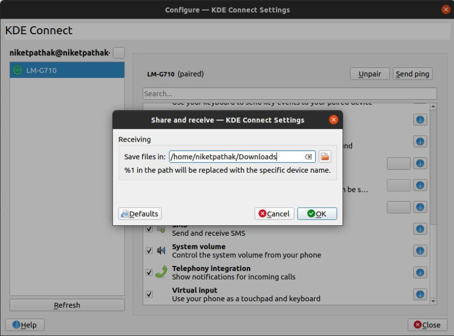 KdeConnect - File Transfer Settings