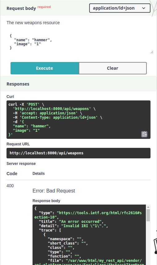 API platform upload by id error