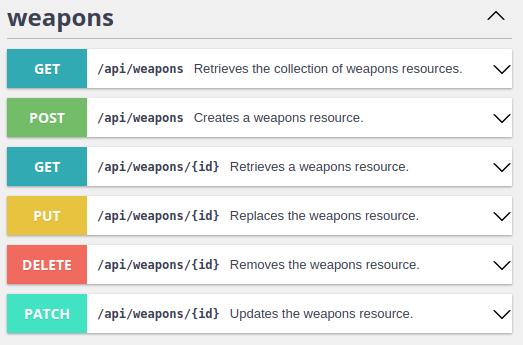 Weapons entity API platform