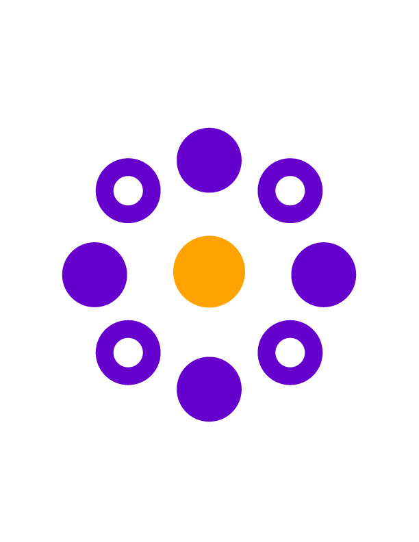 Gold circle in center surrounded by alternating purple filled and purple open circles