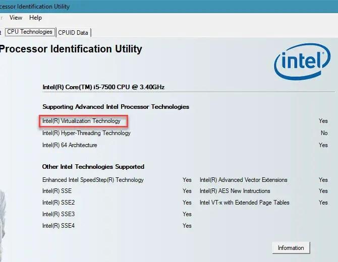 Intel Processor Identification Utility - Virtualization Issues