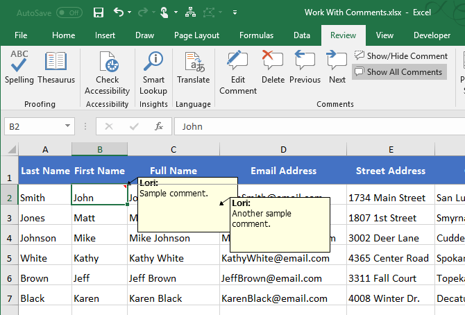 All comments showing and overlapping in Excel