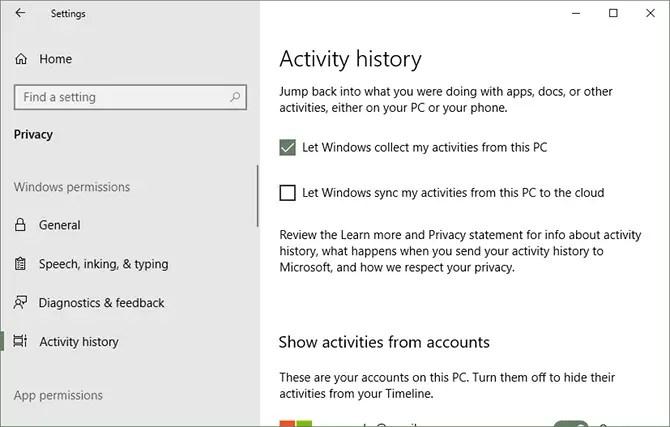 set up and use windows 10 timeline