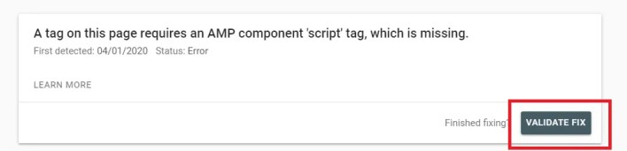 [fixed] a tag on this page requires an amp component 'script' tag, which is missing