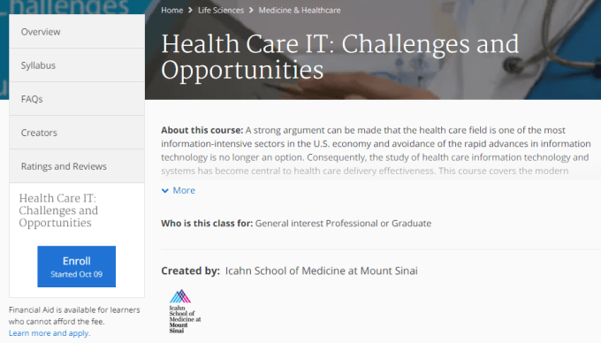 digital health online course Health Care IT