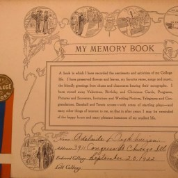 Front Page of Adelaide Dykhuizen's Memory Book.