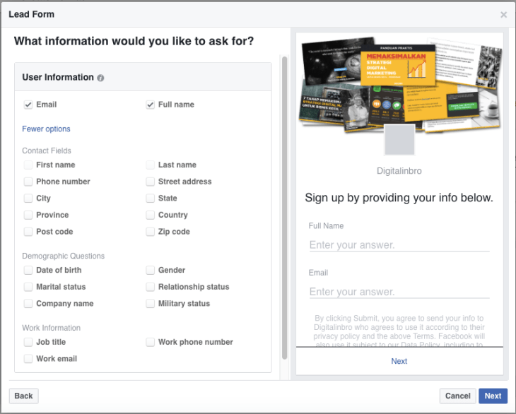 Lead Form Facebook Ads