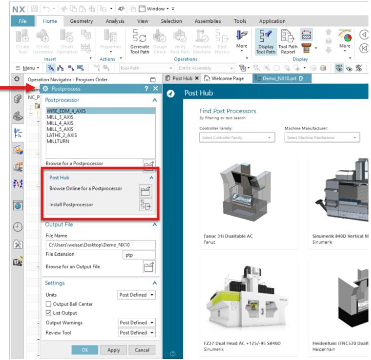 A Post Hub elindításához a legújabb NX CAM verzióban kattintson a Post Process parancsra és a dialógus ablakban keresse az új Post Hub szekciót.