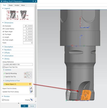 A Cutting Portion of Tool részben kell megadni a forgácsolást végző testet. Ennek a sziluettjéből készít megforgatott testet az NX az X tengely körül, ami a szerszámgépszimulációban a leválasztást fogja végezni.