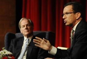 A debate heats up between Republican challenger Tom Foley and Democratic incumbent Dannel P. Malloy. (AP Photo/Jessica Hill)