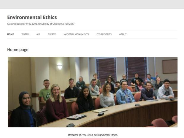 Screen shot of Zev Trachtenberg's course website for Environmental Ethics