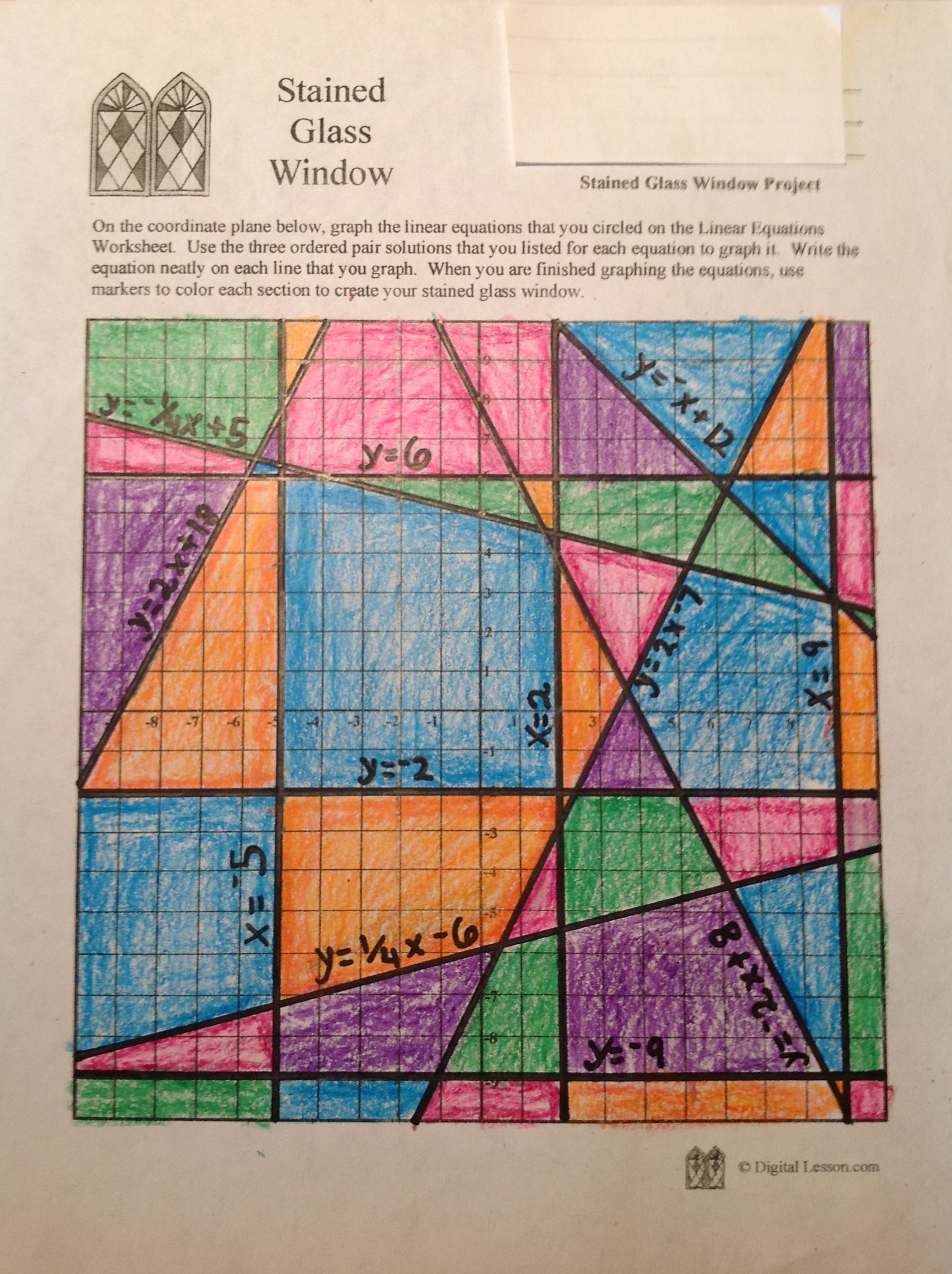 hight resolution of Stained Glass Math Activity   Linear Equations Project