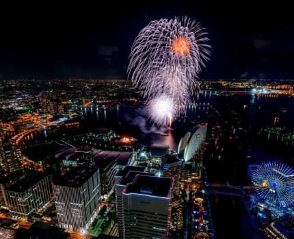 横浜開港祭2018 打ち上げ花火 上から見るか #横浜ランドマークタワー #花火