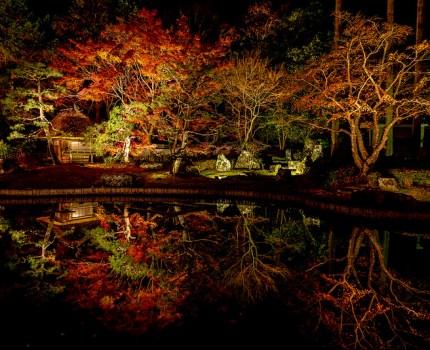 京都の紅葉めぐり 紅葉の穴場しょうざんリゾートの水鏡紅葉ライトアップ