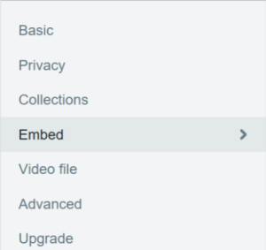 How to change the embed settings for a Vimeo video