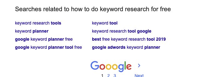 how to do keyword research for free using google related searches tool