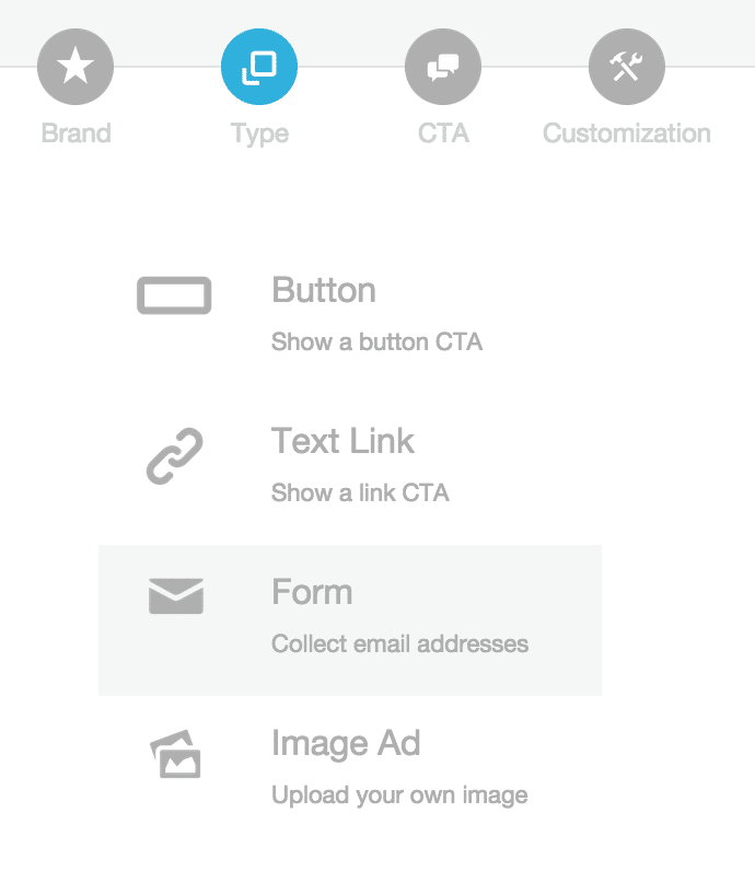 Sniply -- Select the Form Type to create aForm Snip