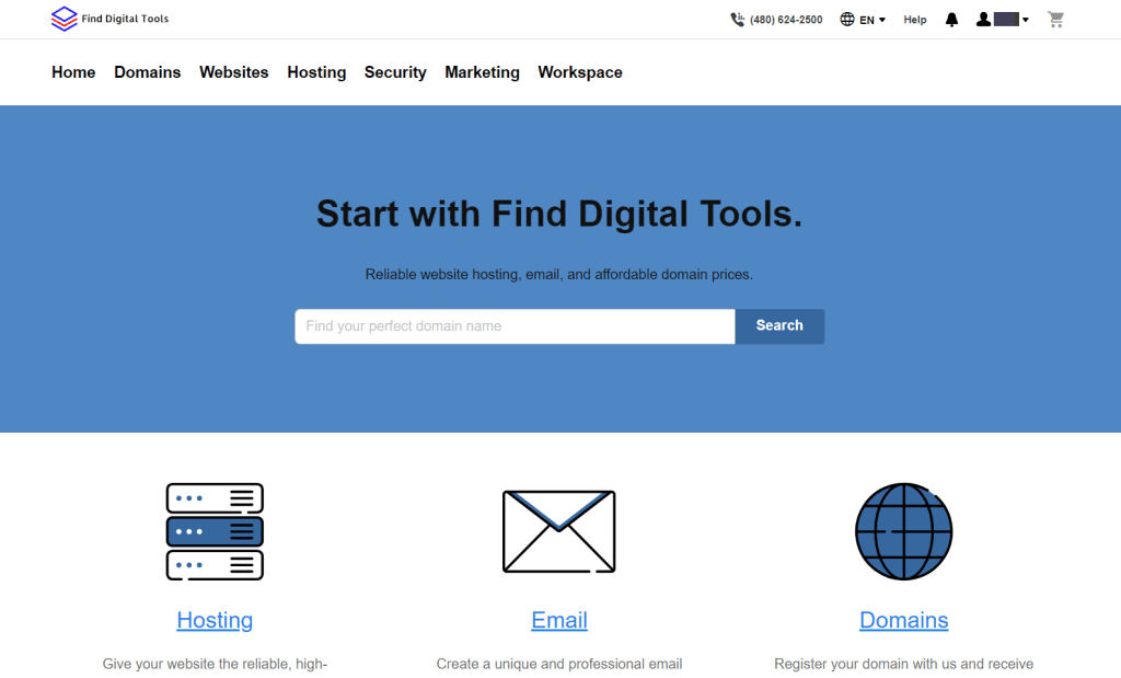 Finddigitaltools hosting and domain