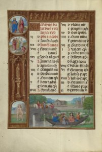 Medieval Book of Hours image from Spinola Hours showing boaters making music for the May calendar image