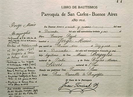 Baptism Book of Jorge Bergoglio - Pope Francis