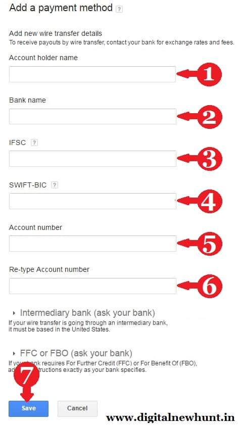 Add New Payment Method Wire Transfer To Bank Settings In Adsense