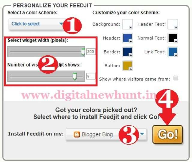 customize and install feedjit widget on blog