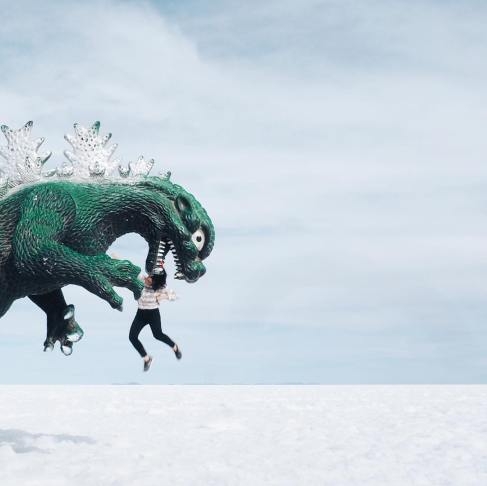Salt Flats Dinosaur Perspective Photo CupofTJ