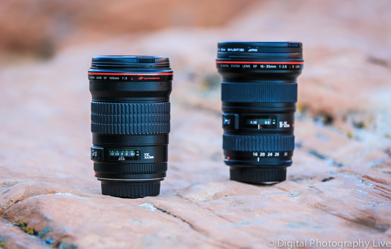 Canon EF 135mm f/2 L (L) & EF 16-35mm f/2.8L (R)