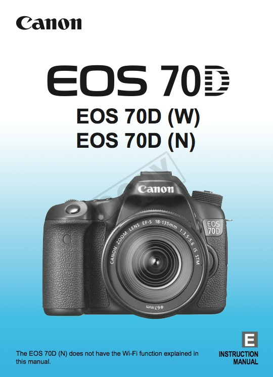 Canon EOS 70D Instruction Manual Download