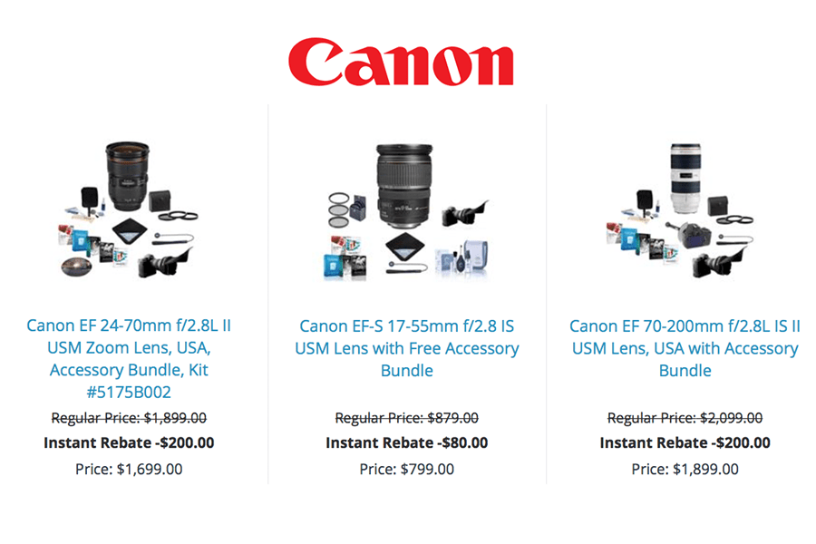 Canon Instant Rebates April