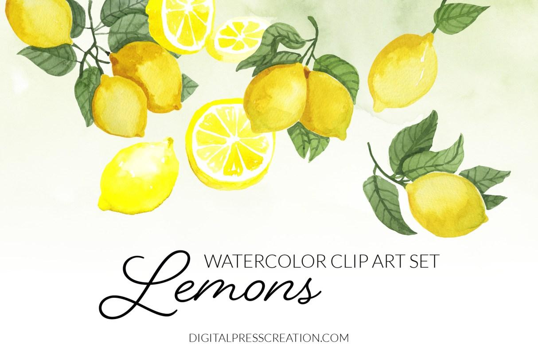 Watercolor Lemons Clipart, Citrus Clip Art