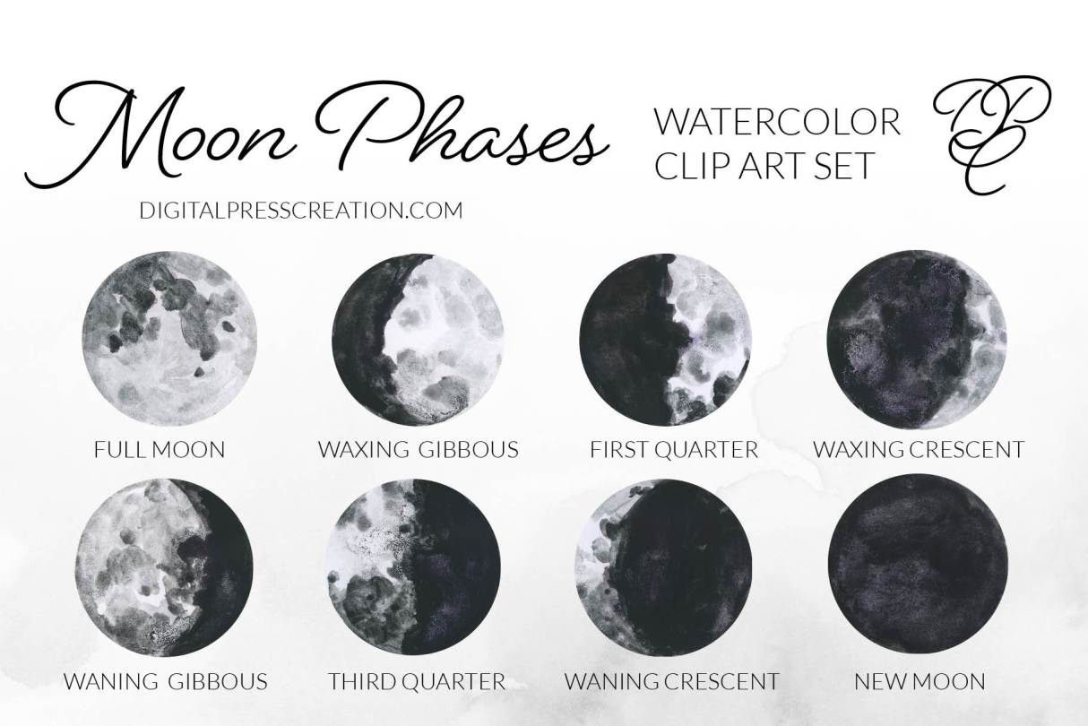 watercolor moon phases clipart illustrations
