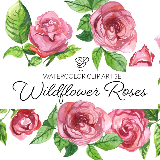 Watercolor Wildflower Roses Floral Clipart
