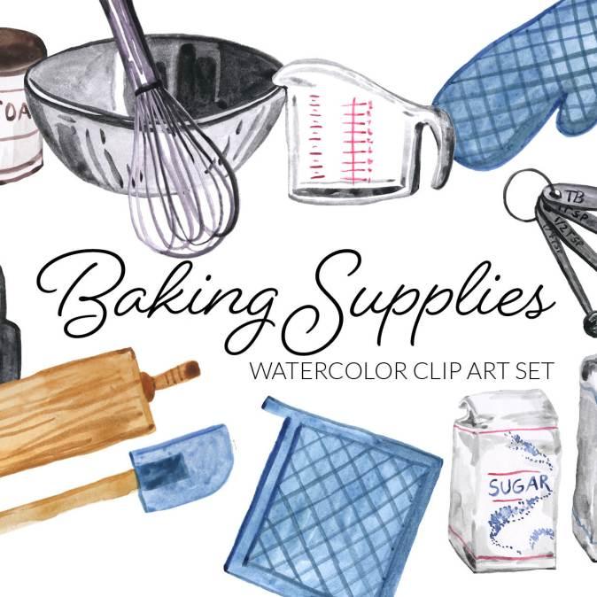 Watercolor Baking Supplies Clipart