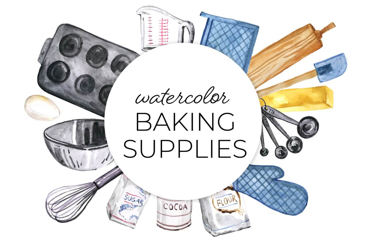 Watercolor baking supplies clipart, foodie culinary clip art