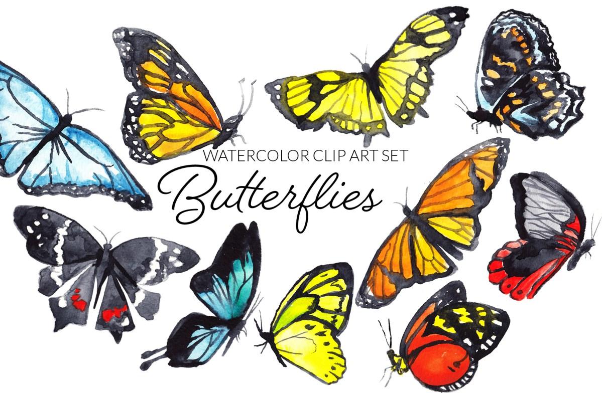 Watercolor Butterflies Clipart Set, digital butterflies clip art