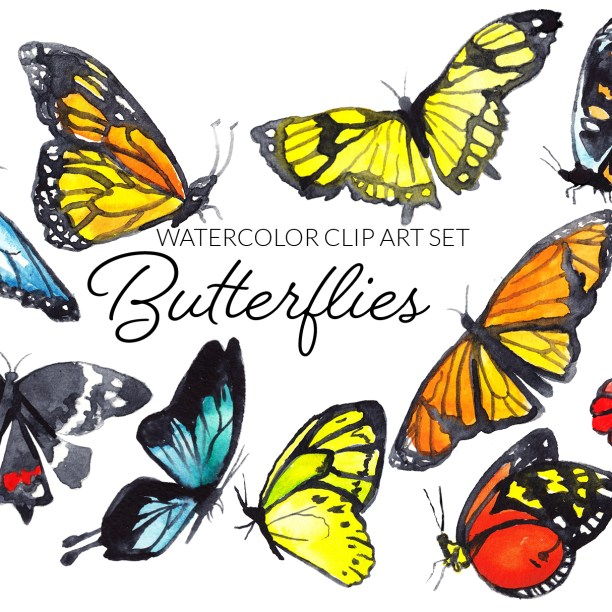 Watercolor Butterflies Clipart Set, digital butterflies clip art