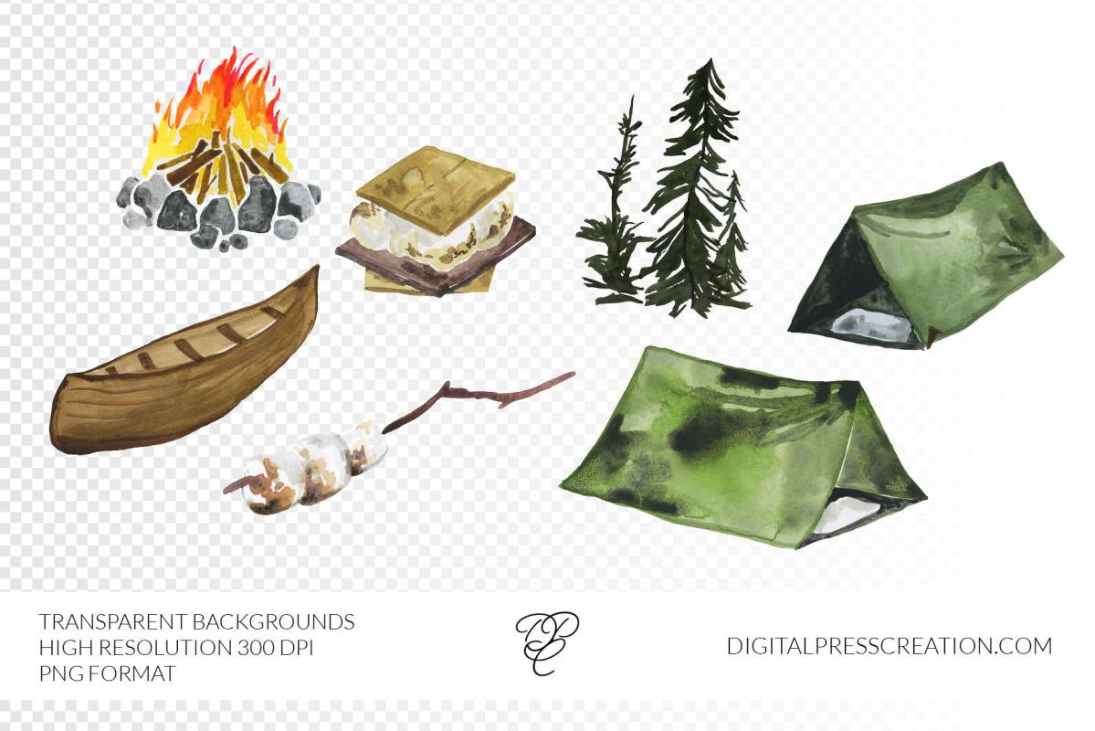Watercolor Camping Clipart, transparent png hiking, outdoorsy clip art