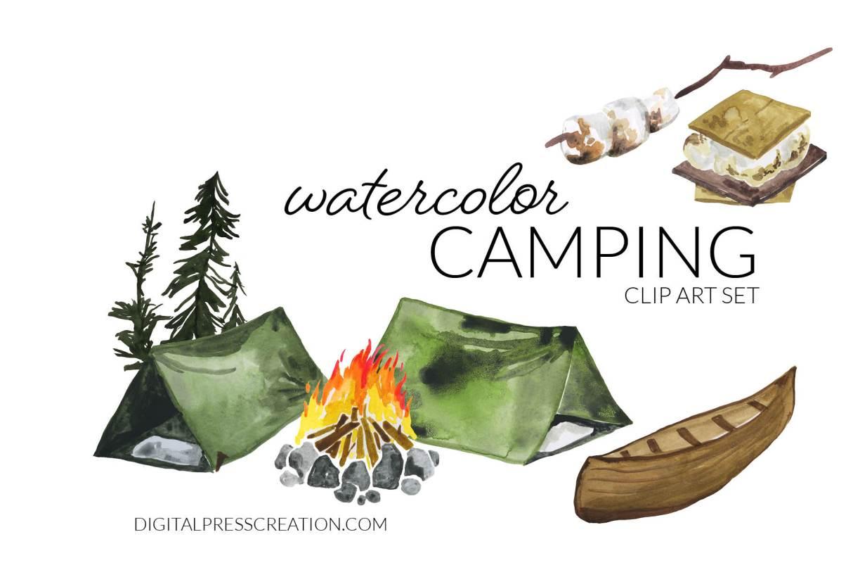 Watercolor digital Camping clip art set