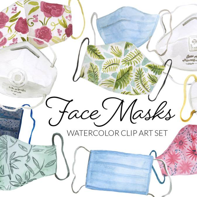 Watercolor Face Mask Clipart, face masks clip art, N95 clipart