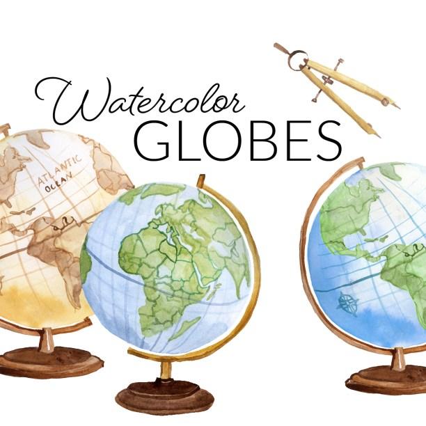 Watercolor Globes Clipart, Planet Study Clip Art