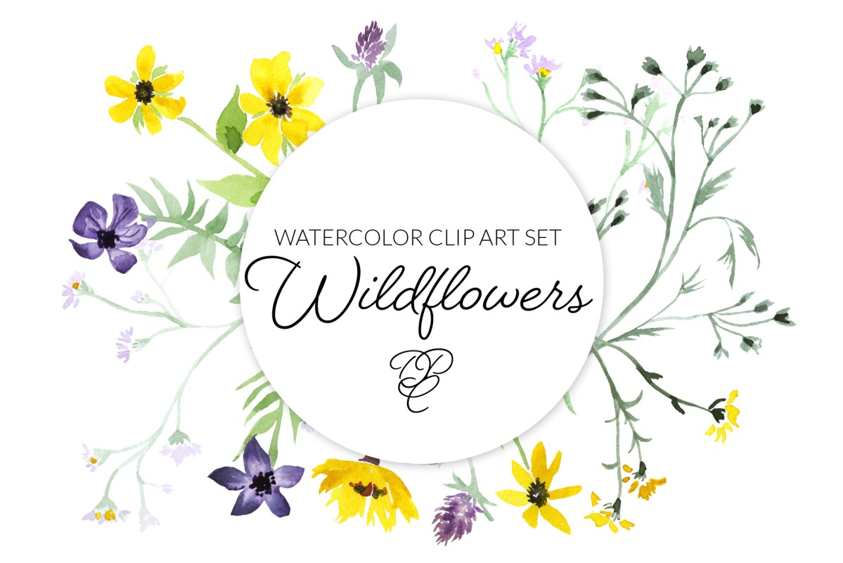 Watercolor wildflowers, natural flowers, hippie florals, transparent png
