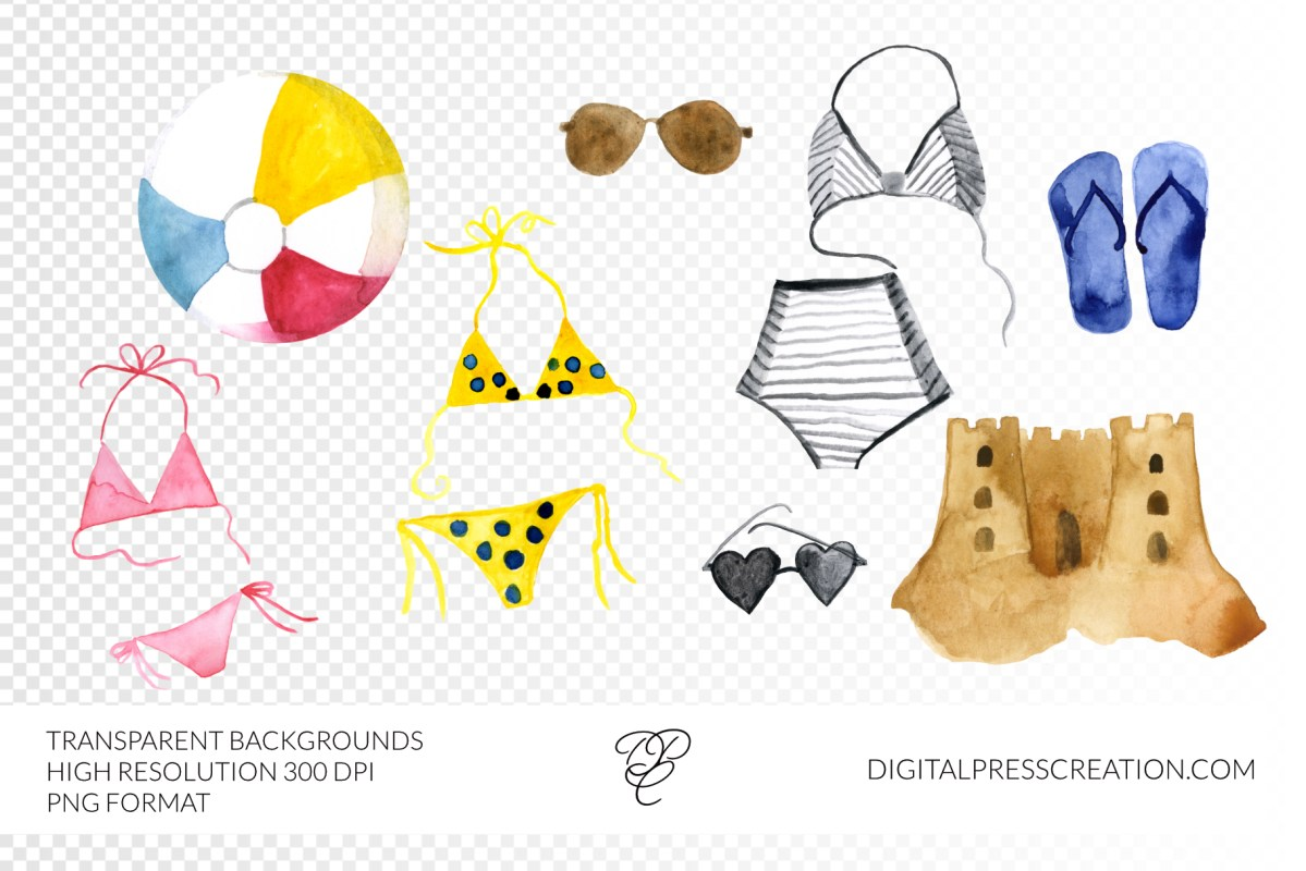 Digital beach gear clipart