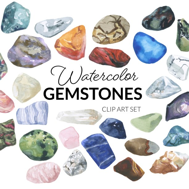 Watercolor Gemstones Clipart