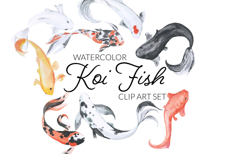 watercolor koi fish clipart, digital japanese fish elements, watercolor illustration
