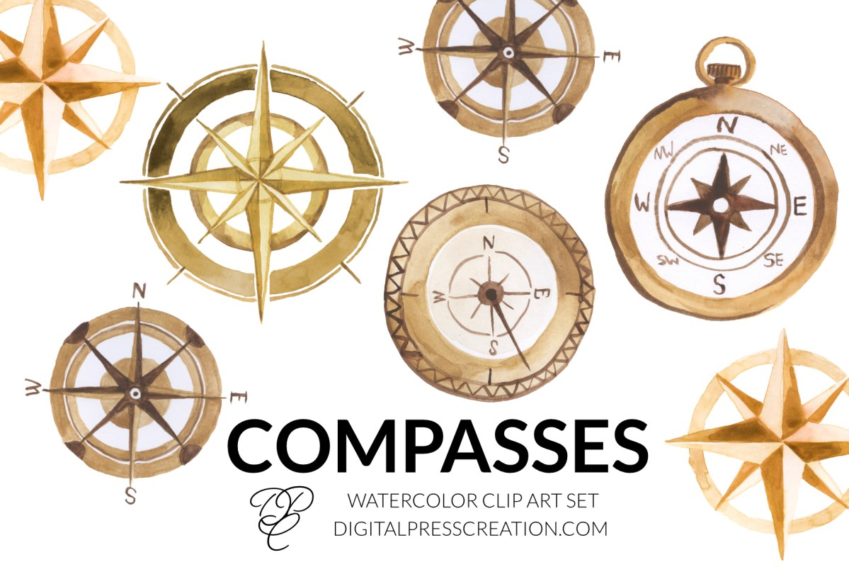 Watercolor compass clipart digital press creation compass rose